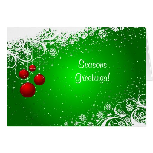 Christmas Card with hanging baubles