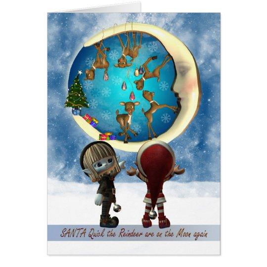 Christmas Card With Naughty Reindeer And Elf's