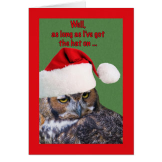 Christmas Card with Owl and Santa Hat