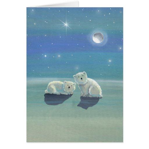 Christmas Card with Polar Bear Cubs