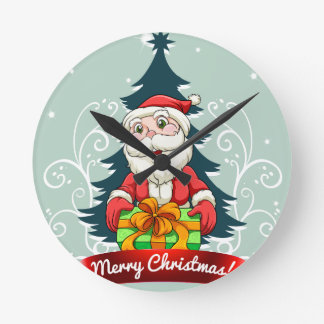 Christmas card with Santa and gift Round Clock