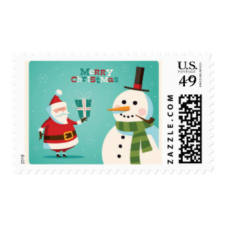 Christmas card with Santa and snowman Stamps