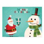 Christmas card with Santa and snowman Postcards