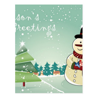 Christmas card with snowman design