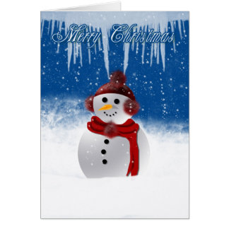 Christmas Card With Snowman In Fluffy Ear Warmers