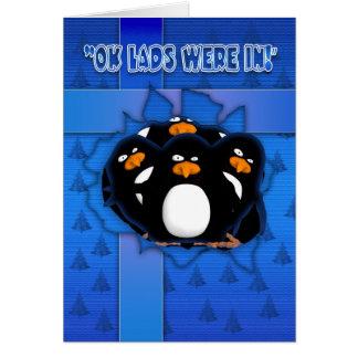 Christmas Card With Strange Penguins