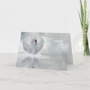 Christmas Card With Swan Fantasy Swan Art