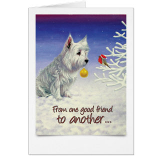 Christmas Card with Westie and Robin