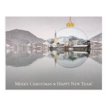 Christmas card with winter church and X-mas ball
