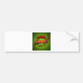 Christmas card with wreaths decorations bumper sticker