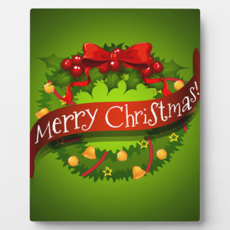 Christmas card with wreaths decorations plaque