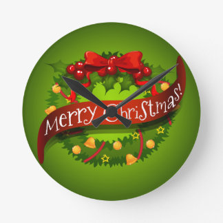 Christmas card with wreaths decorations round clock