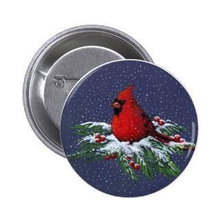 CHRISTMAS: CARDINAL: BIRD: ART 2 INCH ROUND BUTTON