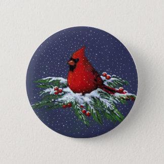 CHRISTMAS: CARDINAL: BIRD: ART BUTTON
