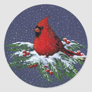 CHRISTMAS: CARDINAL: BIRD: ART CLASSIC ROUND STICKER
