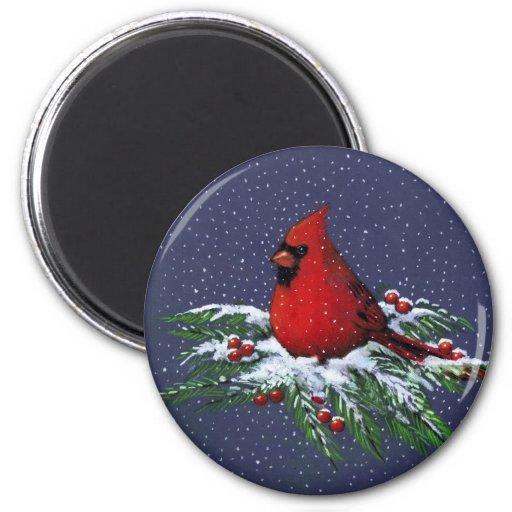 CHRISTMAS: CARDINAL: BIRD: ART FRIDGE MAGNETS
