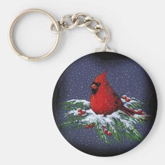 CHRISTMAS CARDINAL: BIRD: ART: SNOW KEYCHAIN