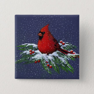 CHRISTMAS CARDINAL: BIRD: ART: SNOW PINBACK BUTTON