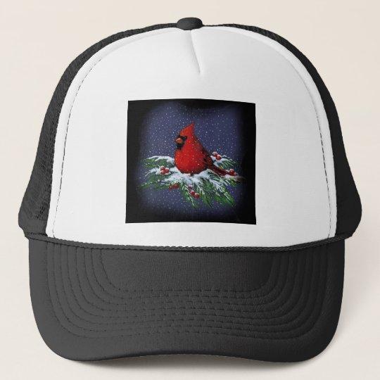 CHRISTMAS CARDINAL: BIRD: ART: SNOW TRUCKER HAT