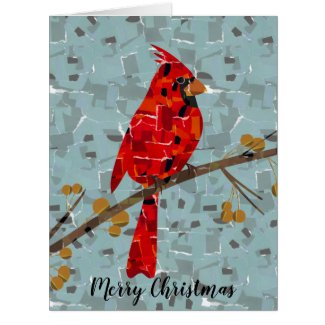 Christmas Cardinal bird collage Card