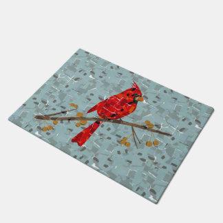 Christmas Cardinal bird collage Doormat