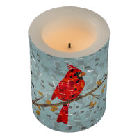 Christmas Cardinal bird collage Flameless Candle