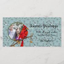 Christmas Cardinal bird collage Holiday Card