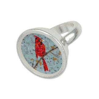 Christmas Cardinal bird collage Rings