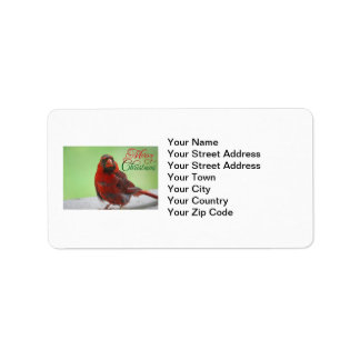 Christmas Cardinal Bird Picture Label