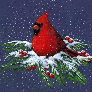 christmas cardinal bird snow art ceramic ornament - Red Bird Christmas Tree Decorations