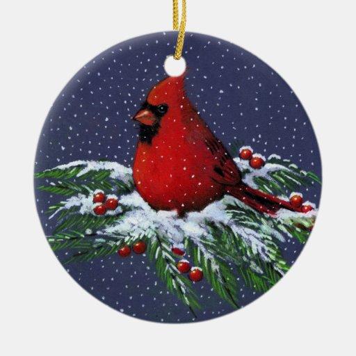 Zazzle CHRISTMAS CARDINAL: BIRD: SNOW: ART Ceramic Ornament