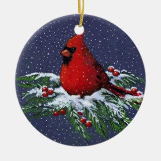 CHRISTMAS CARDINAL: BIRD: SNOW: ART Double-Sided CERAMIC ROUND CHRISTMAS ORNAMENT