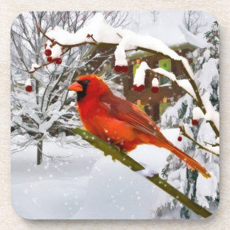 Christmas,  Cardinal Bird, Snow, Cork Coaster