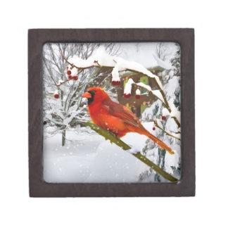 Christmas Cardinal Bird Snow Gift Box Premium Jewelry Box