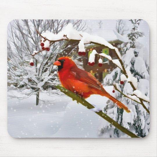Christmas,  Cardinal Bird, Snow, Mousepad