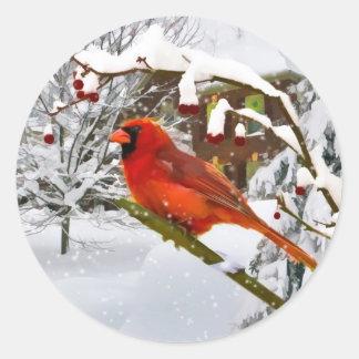 Christmas,  Cardinal Bird, Snow, Sticker