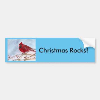 Christmas Cardinal Car Bumper Sticker