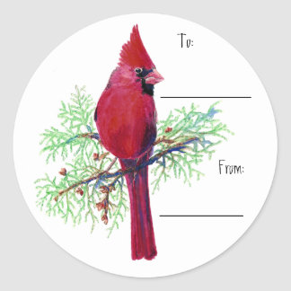 Christmas Cardinal Gift Tag Sticker