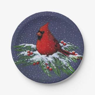 Christmas Cardinal in Snow: Holiday, Bird: Art Paper Plate