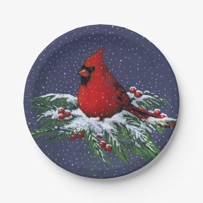 Christmas Cardinal In Snow Holiday Bird Art Paper Plate Zazzle Com