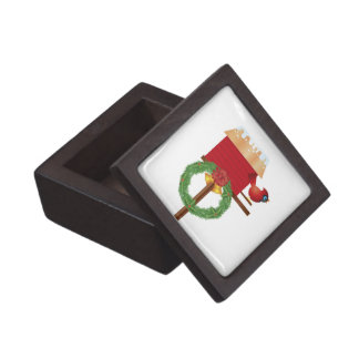 Christmas Cardinal Perched on Birdhouse Box Premium Gift Boxes