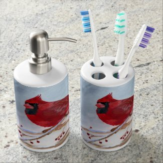 Christmas Cardinal Soap Dispenser & Toothbrush Holder