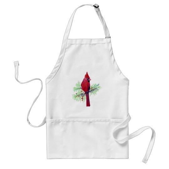 Christmas Cardinal Watercolor Bird art Adult Apron