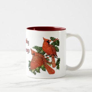 Christmas Cardinals Two-Tone Coffee Mug