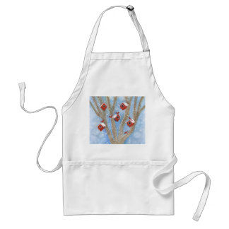Christmas Cardinals with Birdhouses in Tree Apron