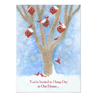 Christmas Cardinals with Birdhouses in Tree Card