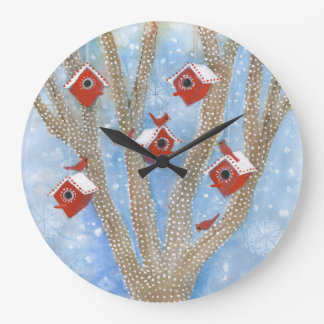 Christmas Cardinals with Birdhouses in Tree Wallclocks