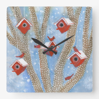 Christmas Cardinals with Birdhouses in Tree Square Wallclock