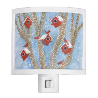 Christmas Cardinals with Birdhouses in Tree Night Lite