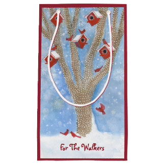 Christmas Cardinals with Birdhouses in Tree Small Gift Bag